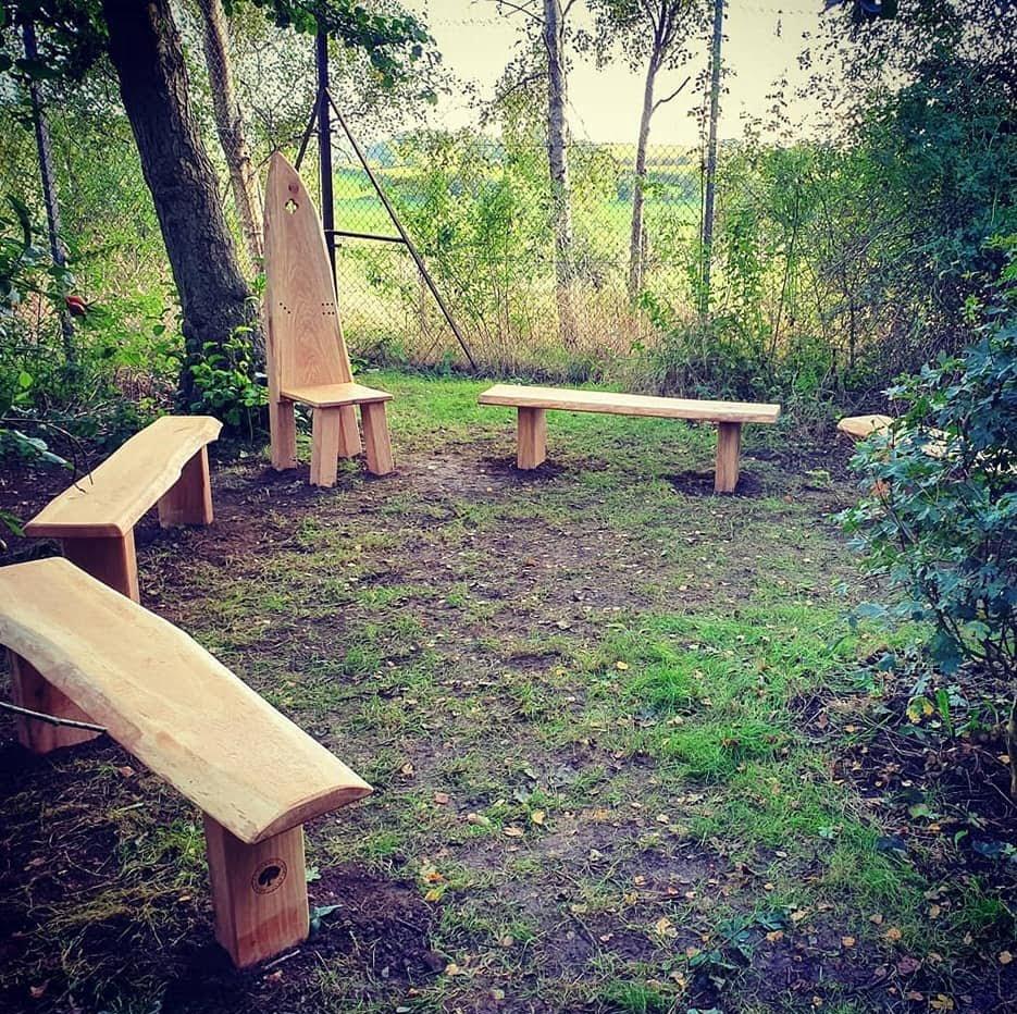 Oak benches Bakewell Junior School