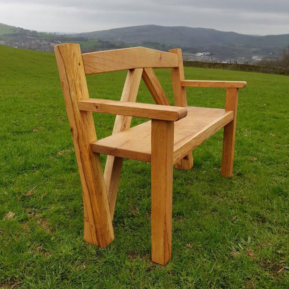 Oak cruck frame bench
