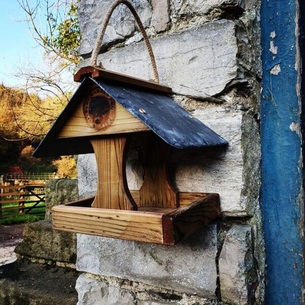 Slate hanging bird table